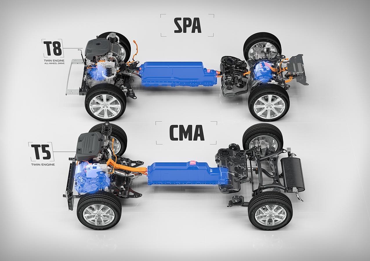 T5 Twin Engine, CMA-plattformen, med framhjulsdrivning och elmotorn monterad vid förbränningsmotorn i jämförelse med T8 Twin Engine på SPA-plattformen där elmotorn driver bakaxeln och bilen blir fyrhjulsdriven.