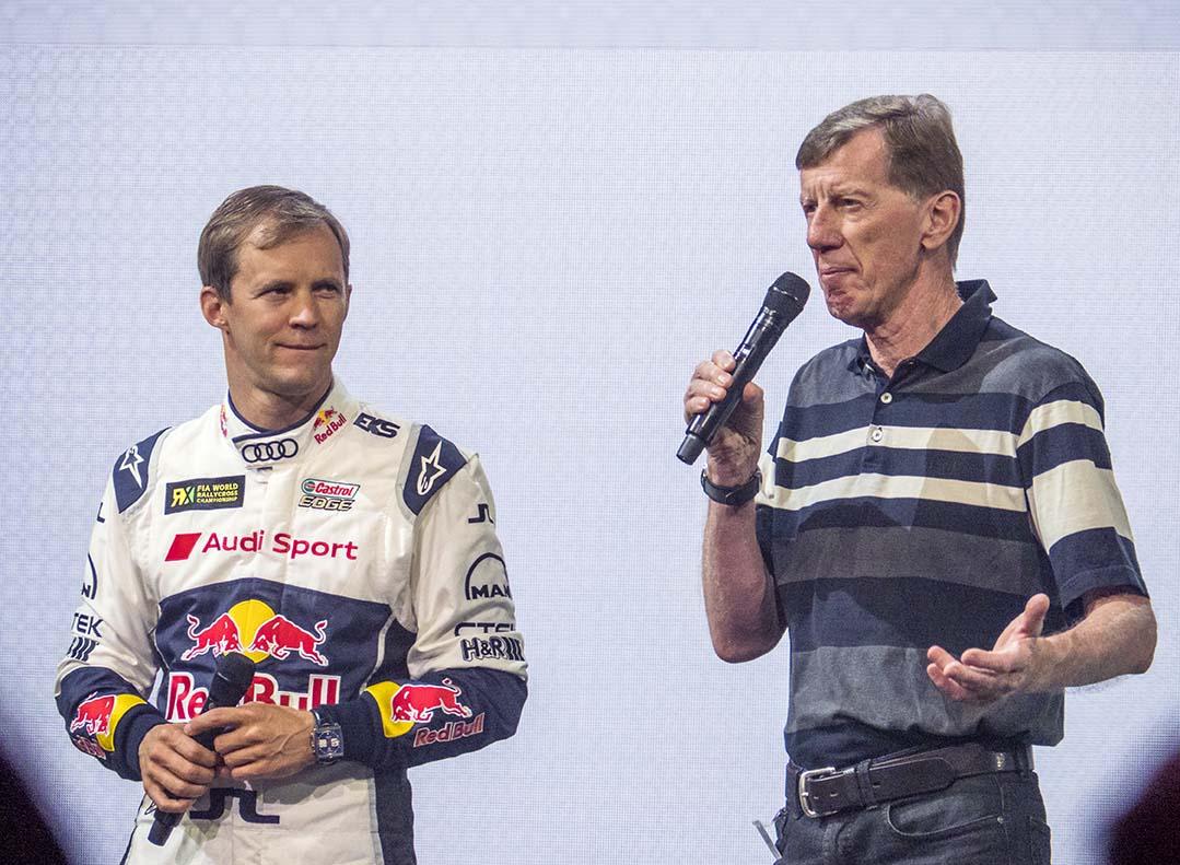 Mattias Ekström och Walter Röhrl, två racinglegender på Audi Summit.